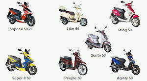 Kymco scooters' 50cc line up