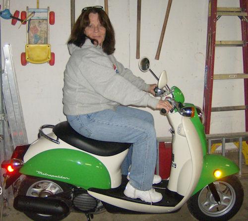 Lalita Culpepper on her Honda Metropolitan