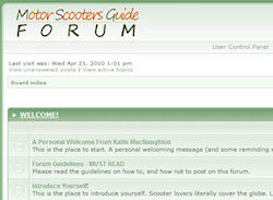Screenshot of our scooter forums