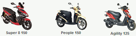Kymco Scooter Company's mid-size line up of scooters