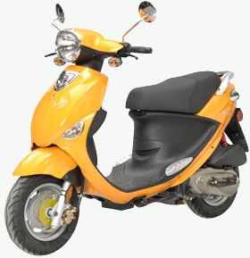 An orange Buddy from Genuine Scooters