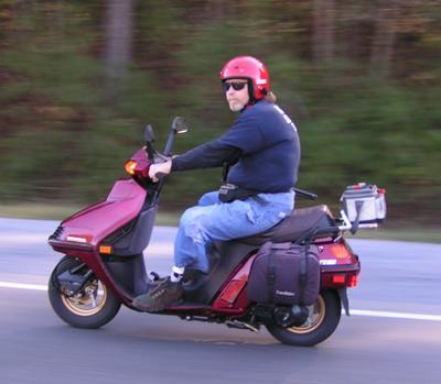The Honda Elite 250 in traveling gear