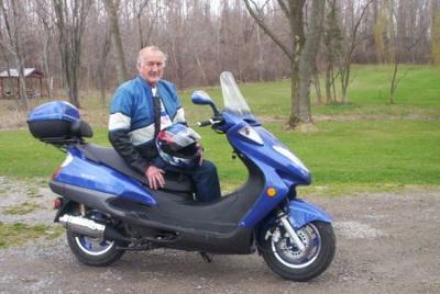 Dick on his Roketa Bali 150 scooter