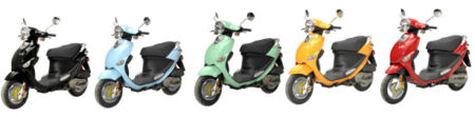 gasoline scooters come in many colors