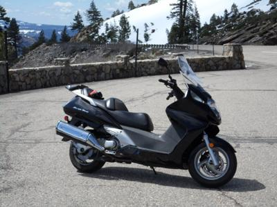 Honda Silverwing at Bear Reservoir overlook in the Sierra Nevadas-State Route 88