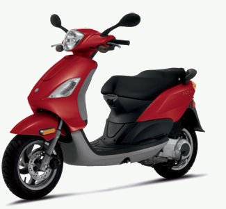 Linda drives a Piaggio Fly scooter