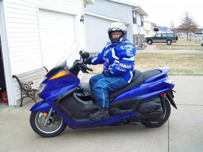 Me on my Yamaha Majesty scooter