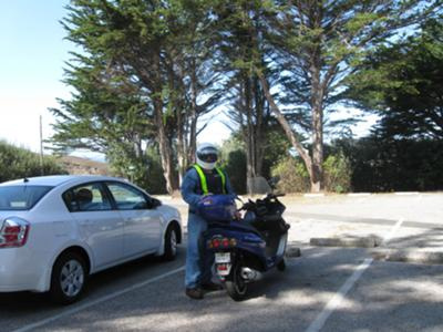 Full riding gear along the California Coast